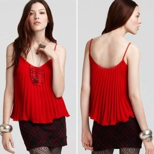 Free People Black Ribbons and Pleats Cami Small